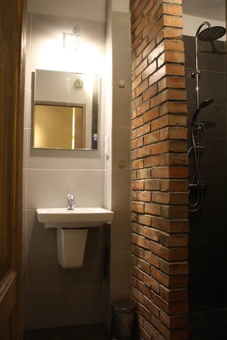 Za ścianą z cegły znajduje się prysznic z deszczownicą. Behind the brick-wall there is a shower with rainfall showerhead.