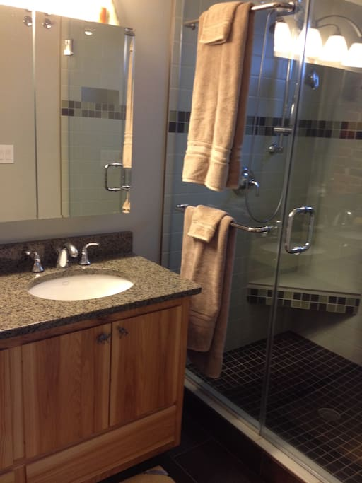 Large two person shower.