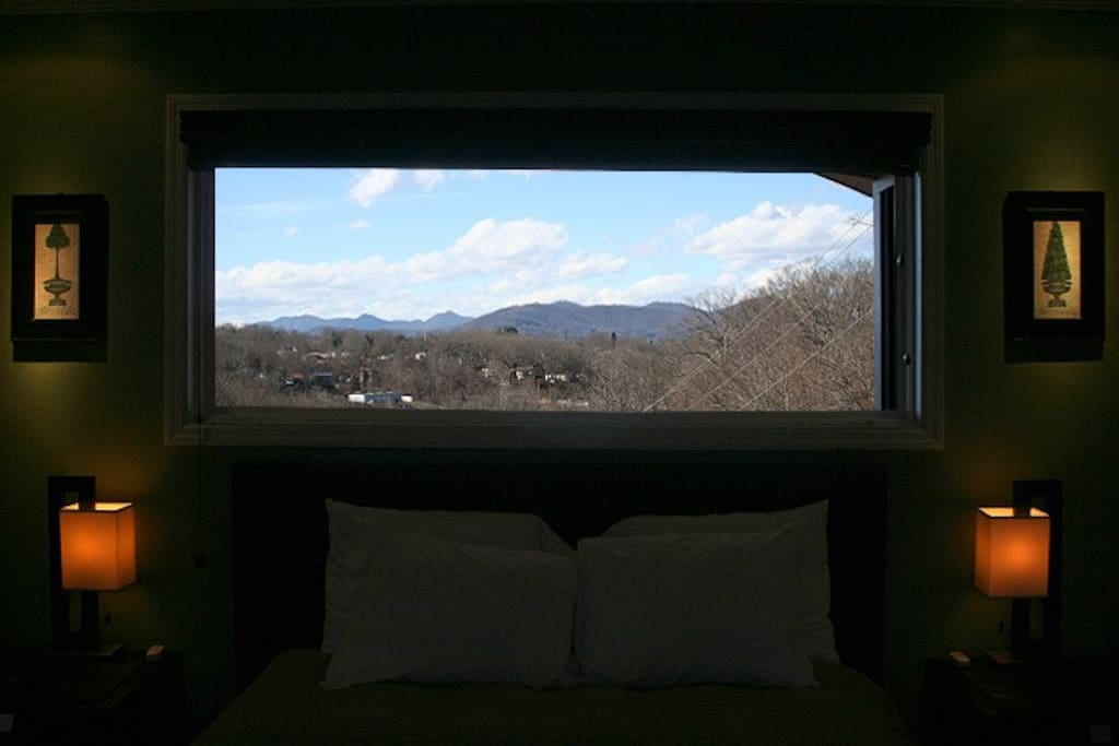 A January photo through the master bedroom's scenic window