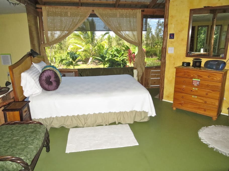 You will sleep well in this spacious bedroom.  Keep the shade open for maximum fresh air.