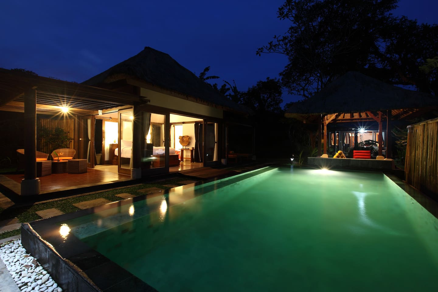Villa Shanti Om at night. This is a luxury villa in the Villa Nirvana complex, which has six villas in all.