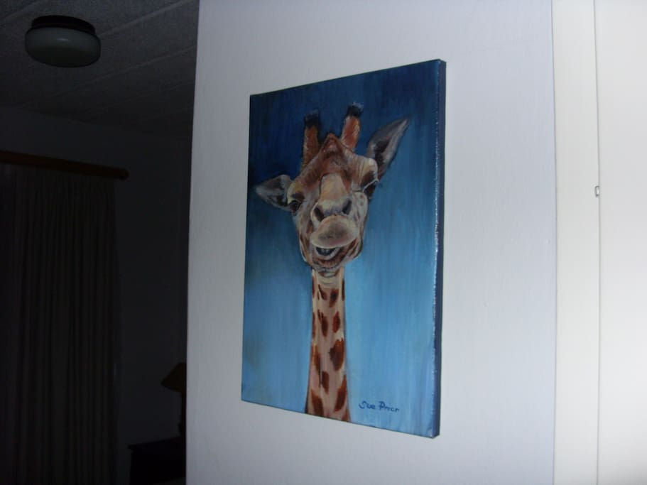This friendly giraffe will welcome you to the double room