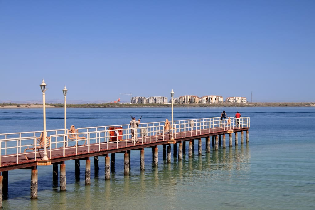 This pier is a great place to walk with an ice cream cone from La Fuente.  Did you ever hear of corn ice cream?  They have dozens of flavors all made at their store.