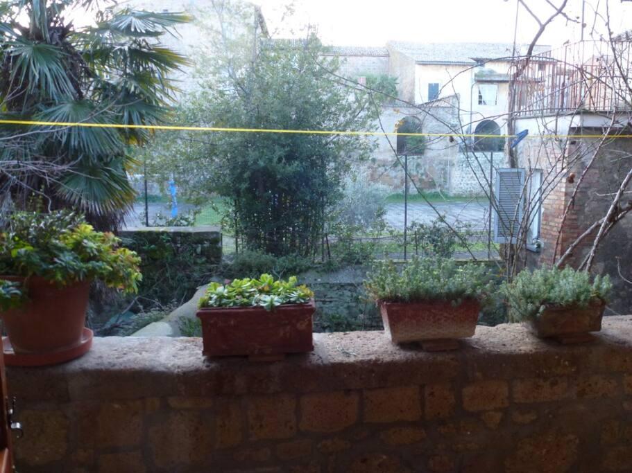 Balcony overlooking interior garden
