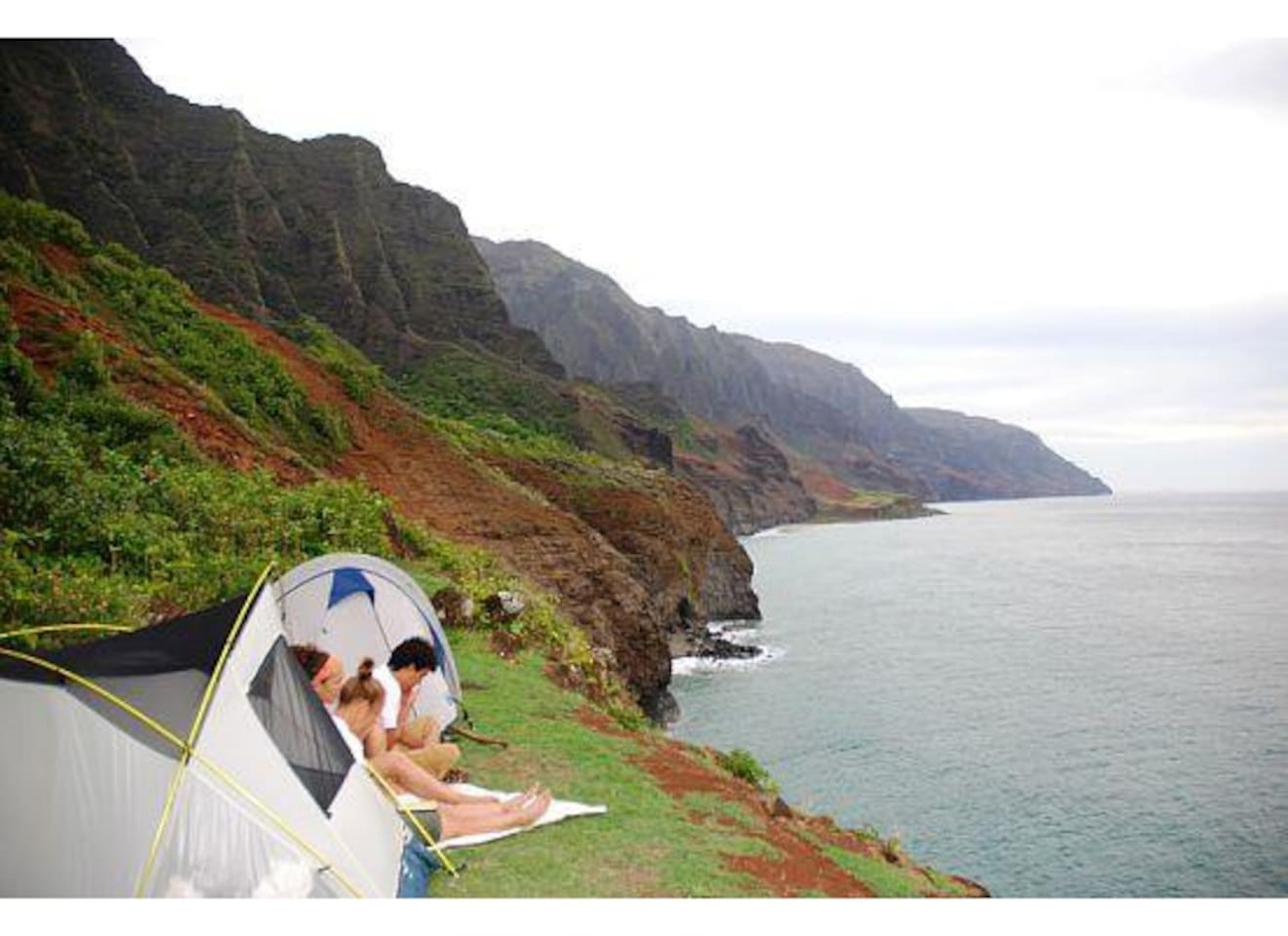 our tents are physical structures at the physical location of Kalalau on Kauai