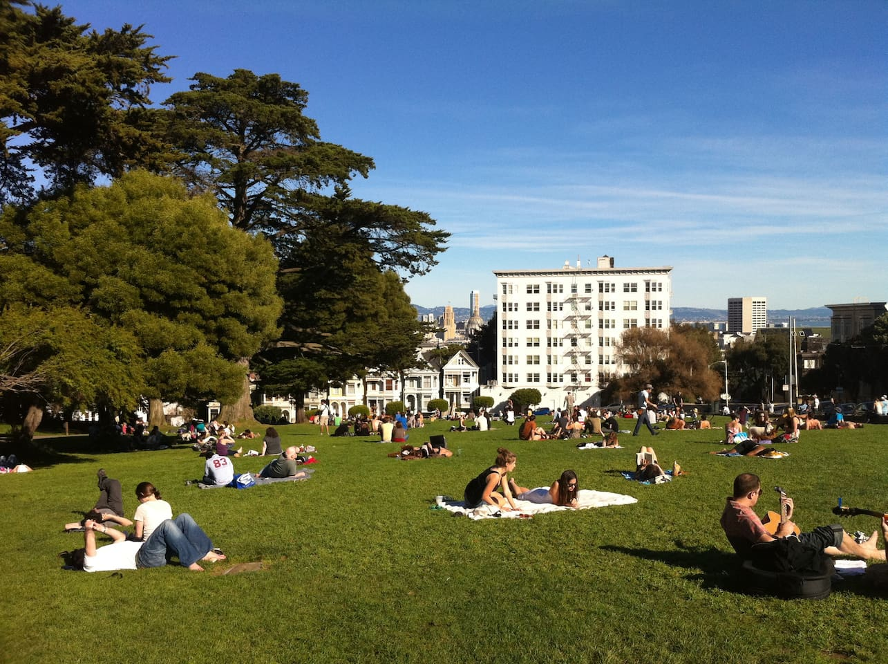 Alamo Square with painted ladies in background.