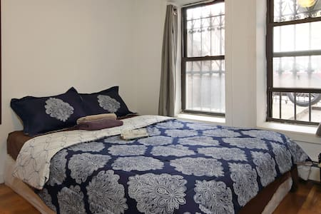 This private room has one double bed and is in an incredibly cool brownstone in Bedford-Stuyvesant, Brooklyn. Guests have full access to the living room and kitchen.
