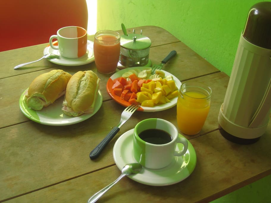 The breakfast is included and consists of coffee, fresh fruits, bread, cheese/ham