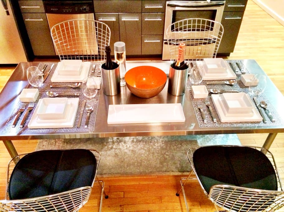 Italian designed Bertoia stools with modern dining set!