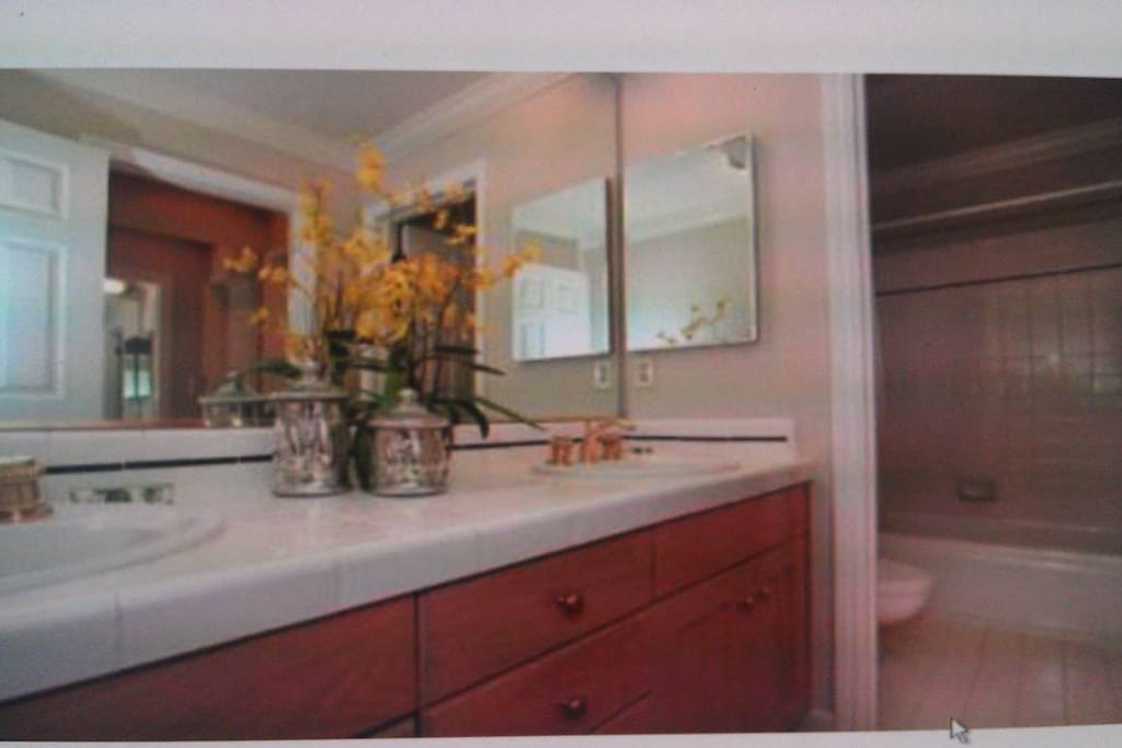 Bathroom with double sink counter top and full size bath tub.