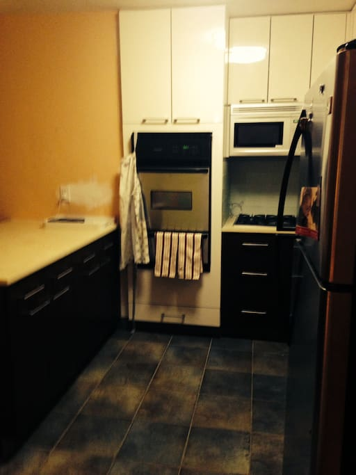 Kitchen with oven, stove, refrigerator, freezer and bar