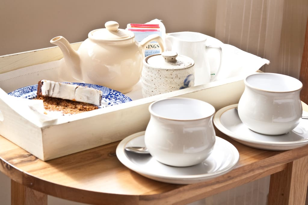 Generous hospitality tray in your room