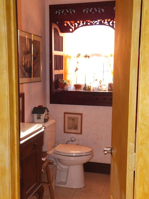 guest bathroom with indonesian window
