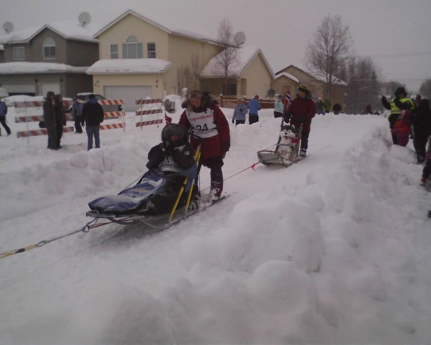 Just a block from the sled races.