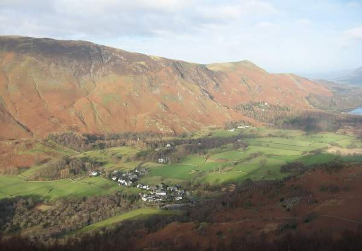 Grange village with Catbells, Maiden Moor and High Spy in the background