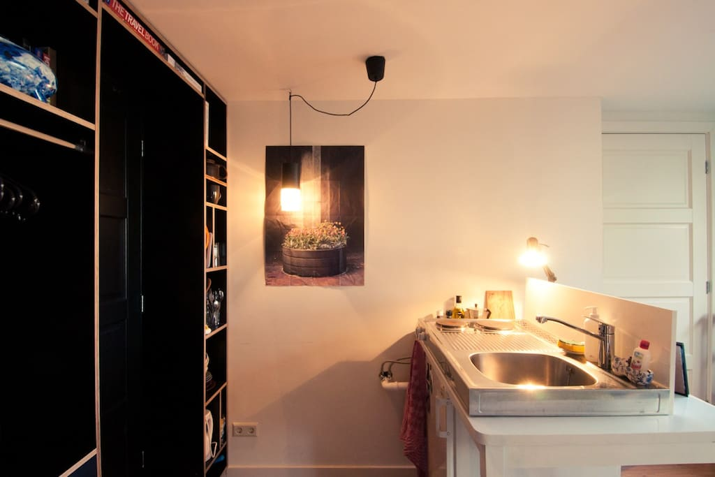 view into the kitchenette