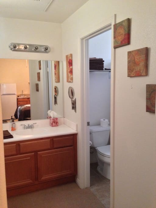 Separate sink and mirror from shower and toilet.