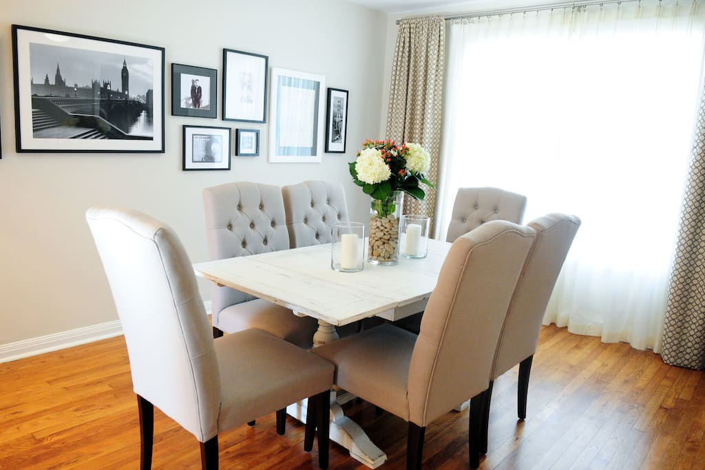 Enter into dining room with seating for six.
