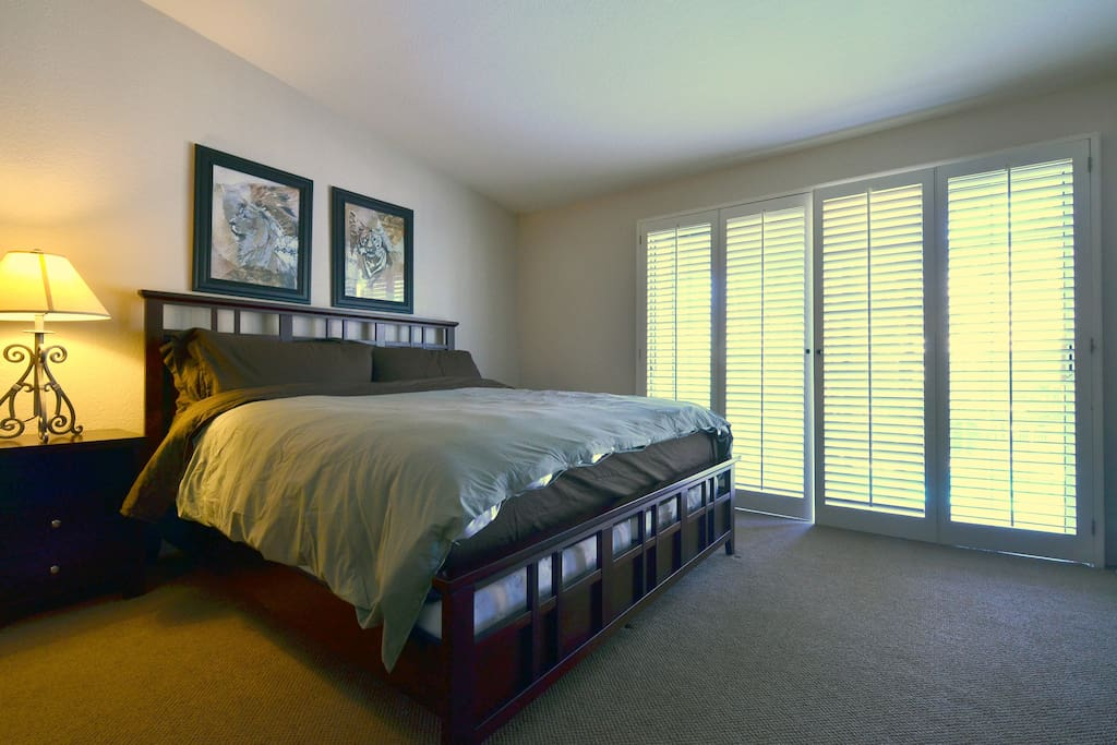 New CA King Bed with Lux Bedding -- Down Comforter/Duvet with view out to Pool and San Jacinto Mountain
