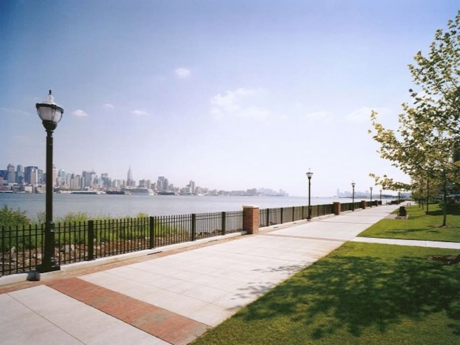 Boardwalk right outside the building that lines the Hudson River