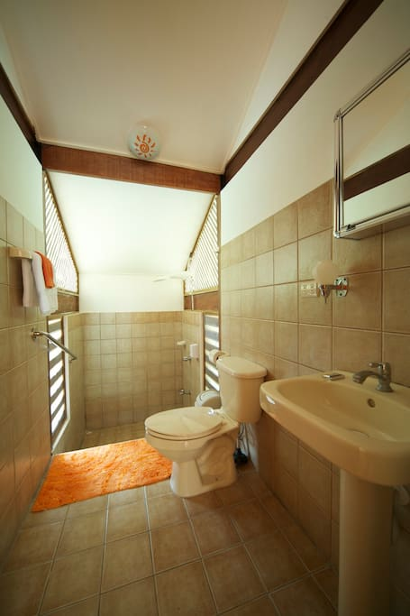 Bathroom with hot shower.