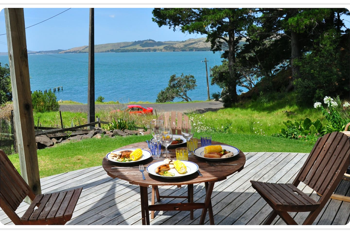 Enjoy your meals looking out at Komiti Bay