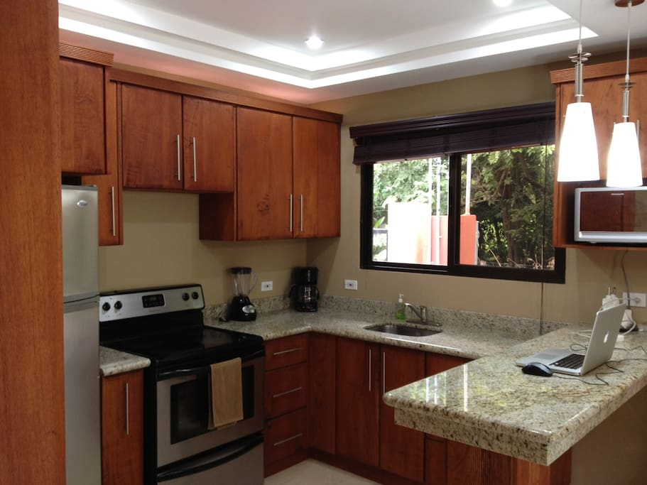 Fully Equipped Kitchen, Custom Hardwood Cabinets.