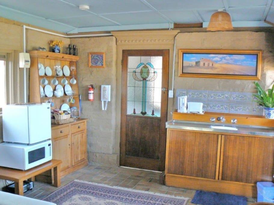Cottage interior with kitchenette