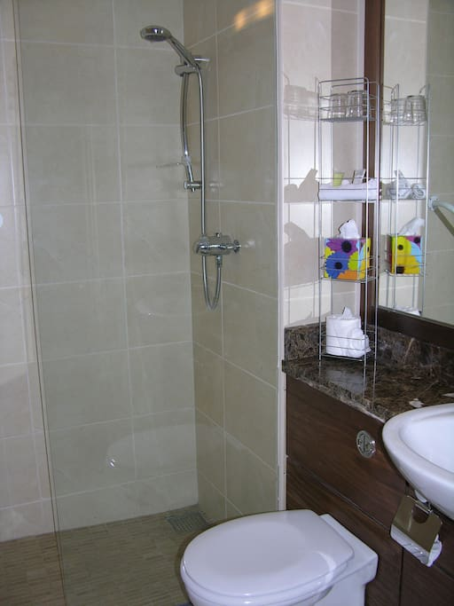 Walk in showers or bath in all Rooms. Also roll in wheelchair friends Shower room available