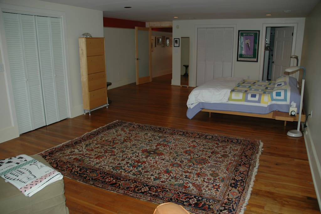 Large bedroom with comfy king-size bed.