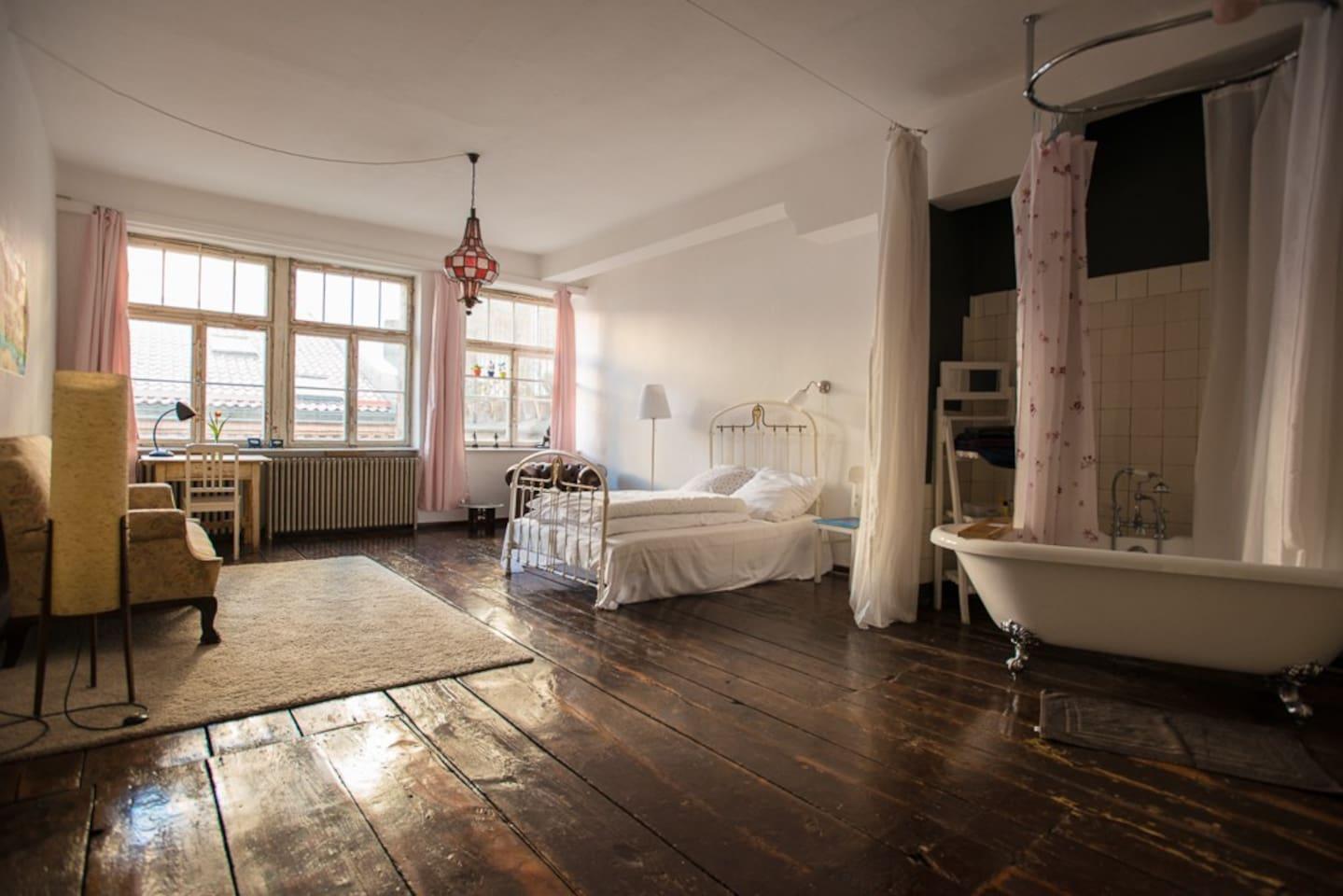 Bedroom with the bathtub.