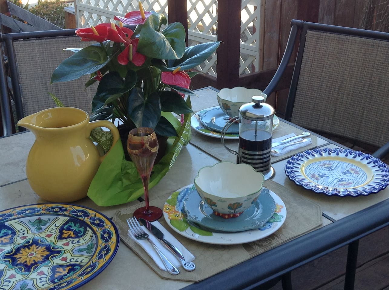 Enjoy breakfast on the deck with ...