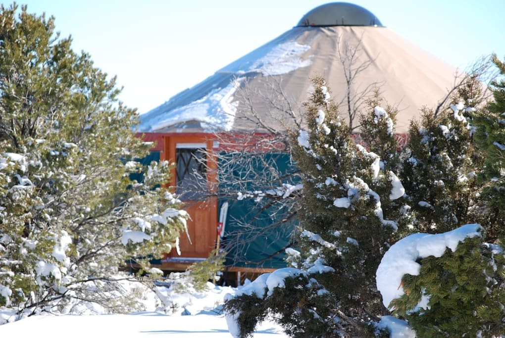 Does it snow at the Yurt? Absolutely! Time to get warm and snuggly inside.