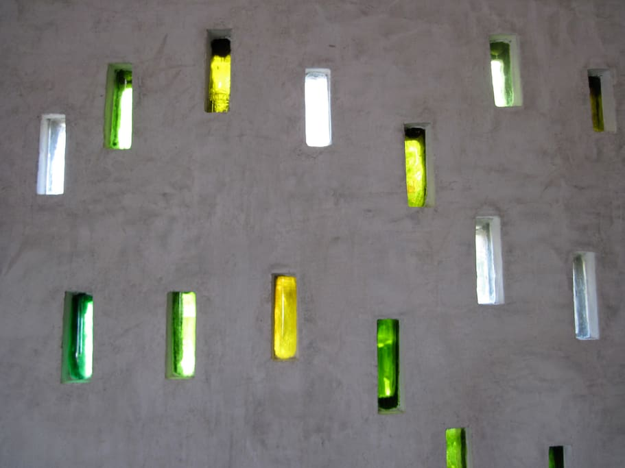 Detail of the beautiful bottle wall.