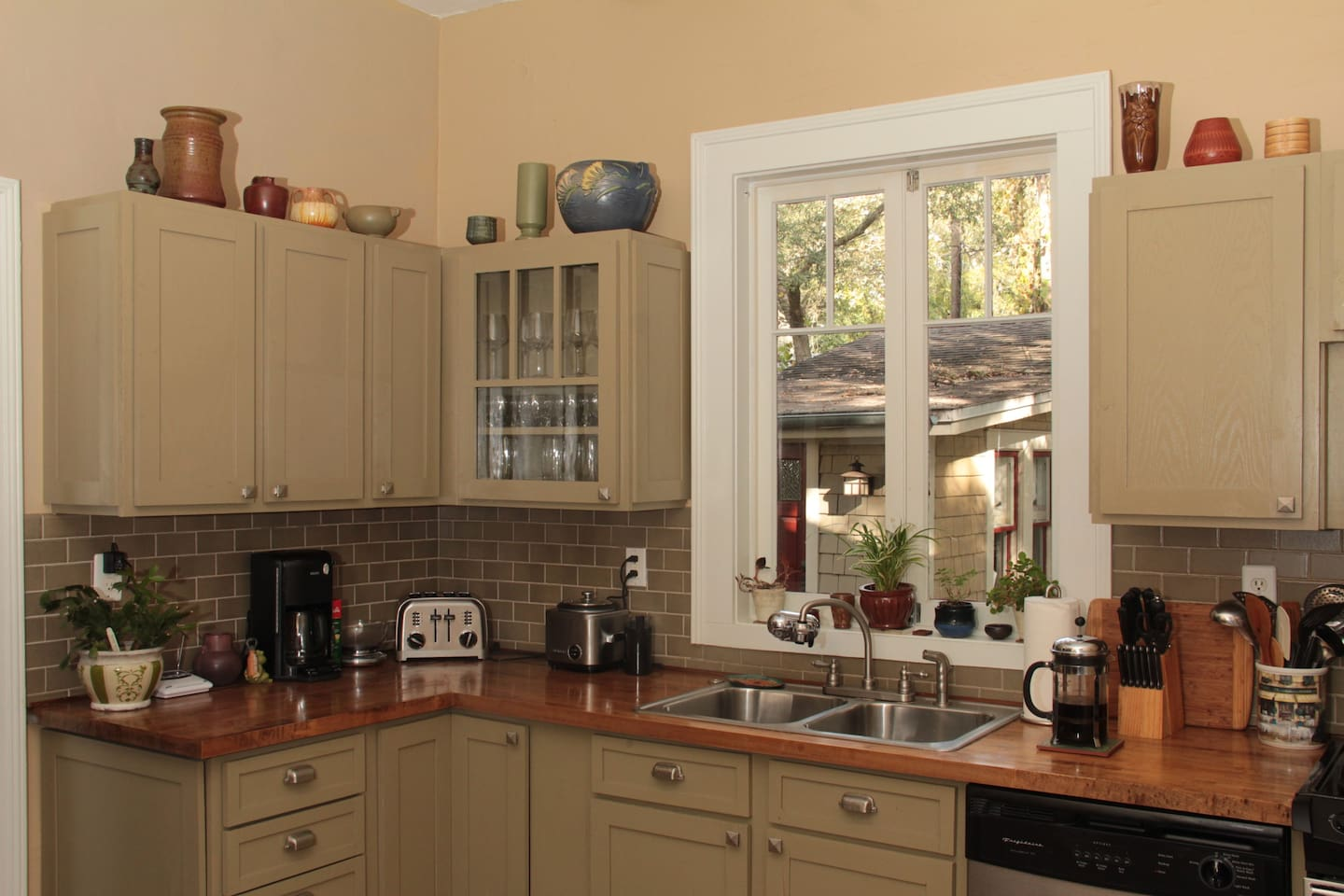 Large kitchen designed in period style of the 1920's