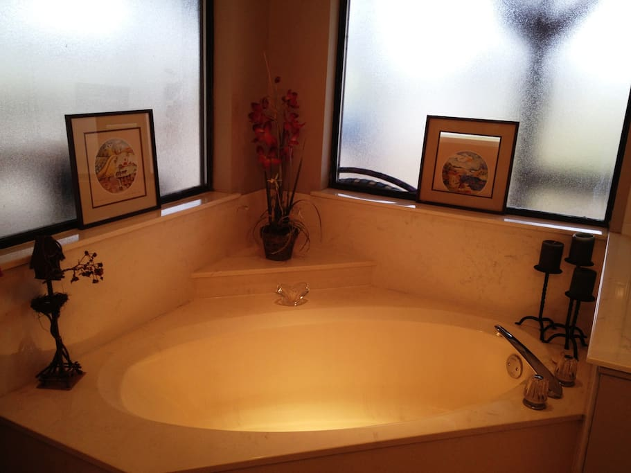 There is a bathtub (shown), a shower, and 2 sinks in the bathroom