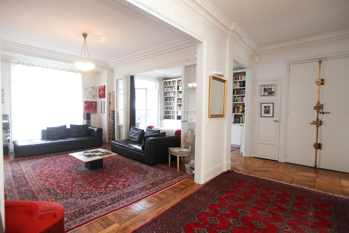 living room, entrance hall, library