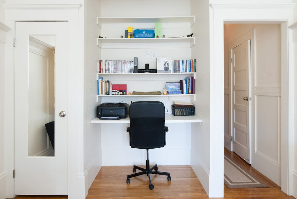 Work space with printer