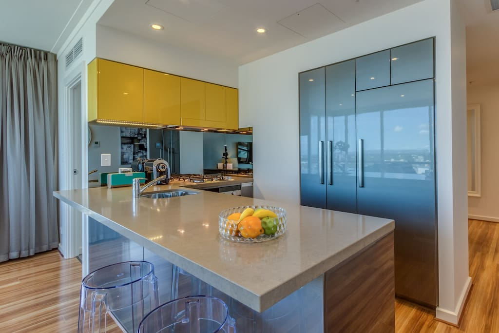 Kitchen with views of Adelaide