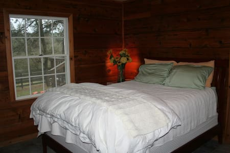 Located in the middle of 10 acres the Headless Horse Ranch is 5 mins to rafting and 25 mins to Placerville. This room has a queen bed, knotty pine paneling, private; bath, entrance & deck overlooking the greenbelt. We even have an organic garden!