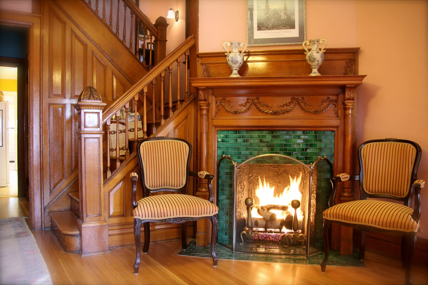 A warm welcome to the Rowe House Rectory.  Your private room is up the stairs.