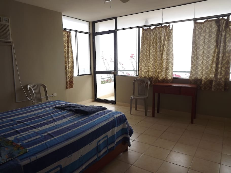 Main bedroom with queen size bed, ocean view, for one or two guests, $70