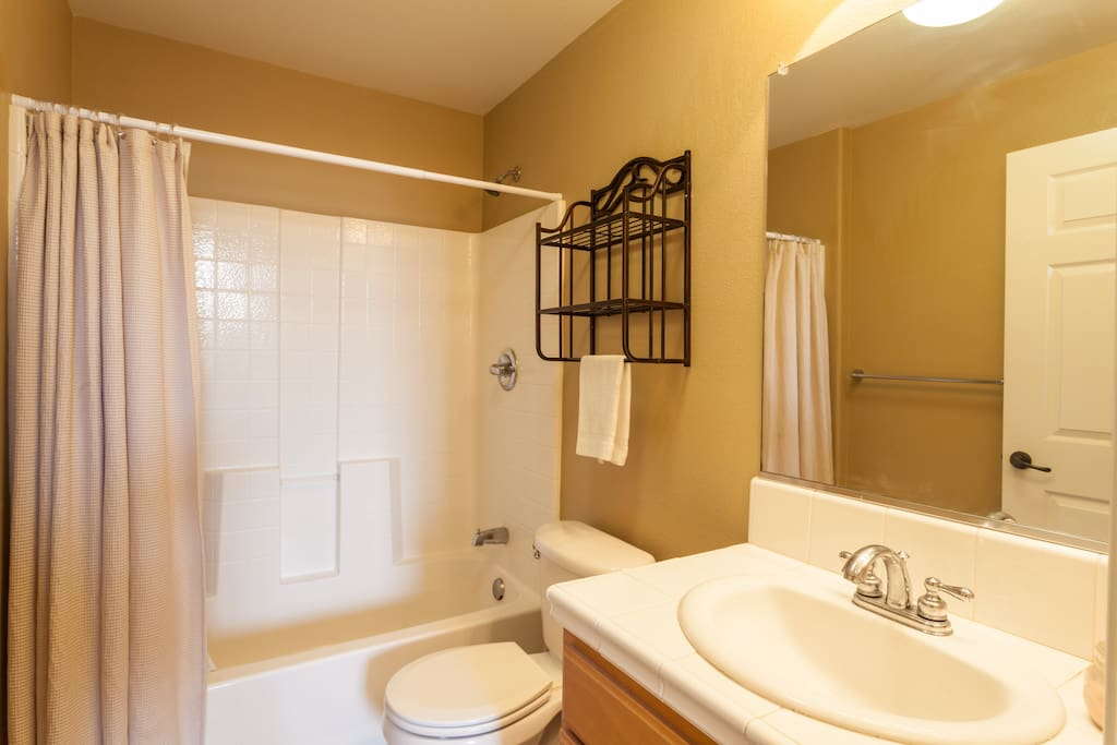 Private full bathroom across from your private bedroom
