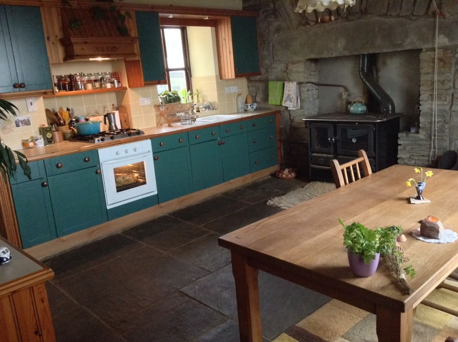 The kitchen cooking area. Gas cooker with one electric ring, electric oven and the stove when the fire is lit.