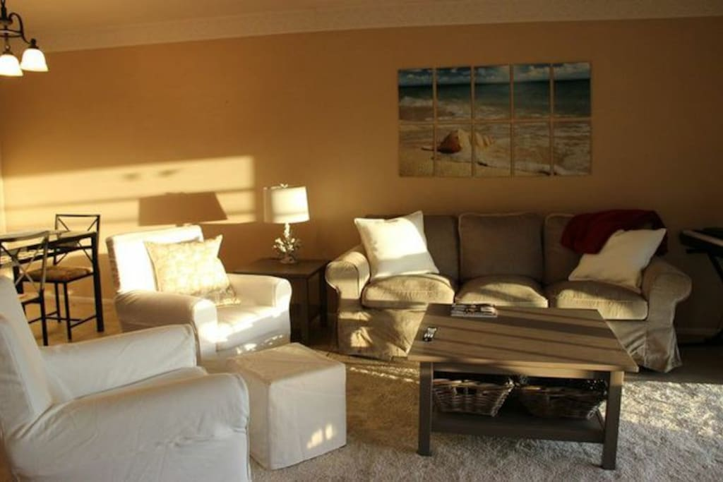 Comfortable, sunny living area.  Furnishings are brand new!