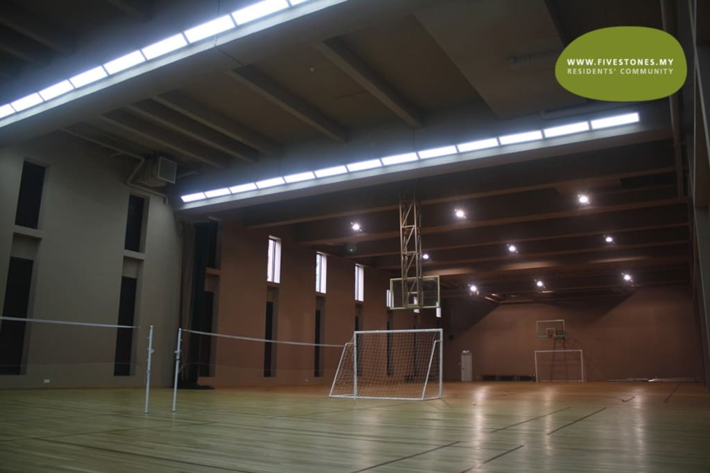 Indoor air-conditioned badminton, futsal and basketball courts
