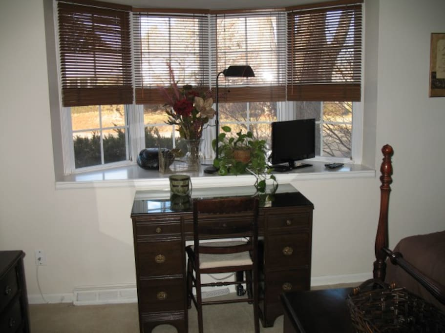 "Bay window and desk. 24 "" Smart TV with Xfinity Cable  and WiFi access throughout the house. BluRay/DVD Player available for use in room upon request"