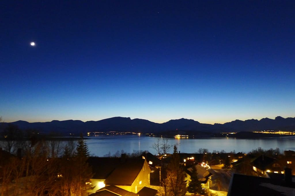 View from the terrace. Beautiful blue colors in February