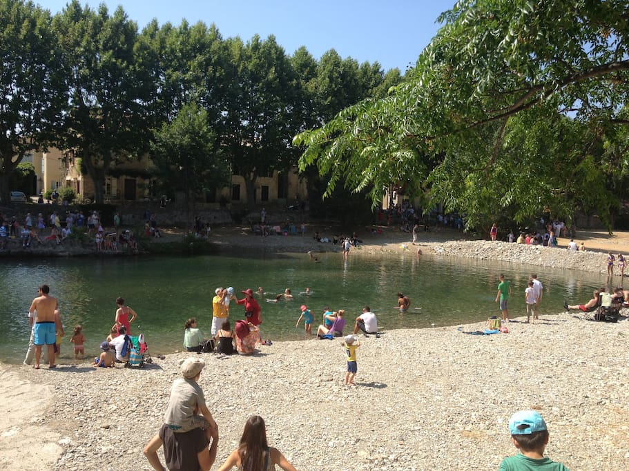 Beautiful Bize-Minervois river and beach