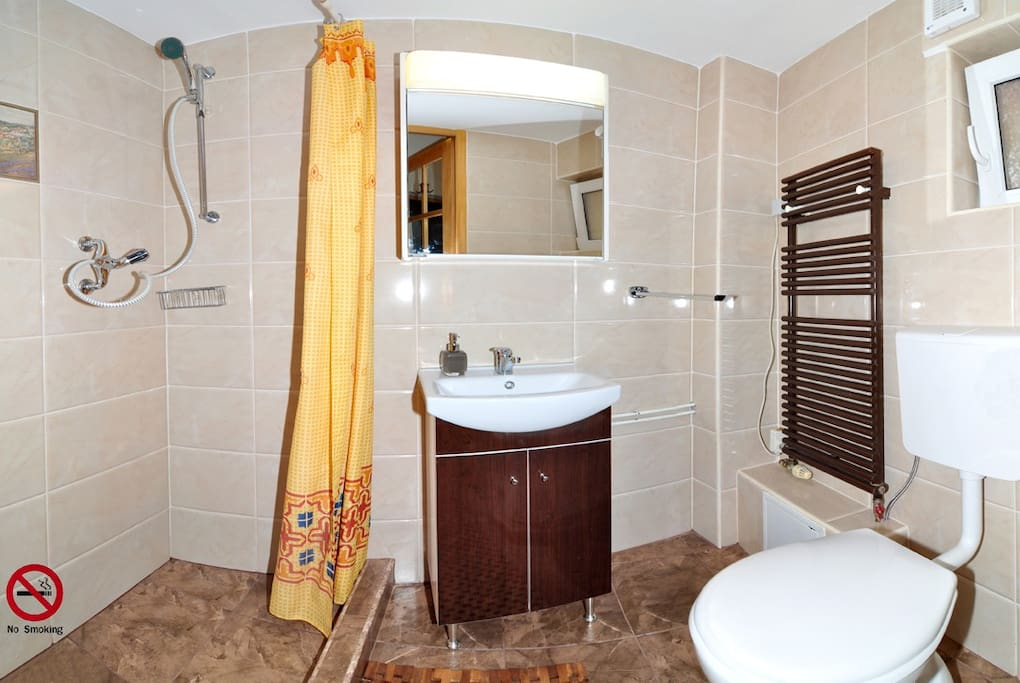 Your own newly decorated bathroom with shower
